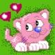 Haft krzyżykowy - do wyboru: kanwa z nadrukiem, nici Ariadna/DMC, wzór graficzny - Zakochany kotek (No 5234)