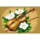 Haft krzyżykowy - do wyboru: kanwa z nadrukiem, nici Ariadna/DMC, wzór graficzny - Martwa natura - skrzypce (No 5242)