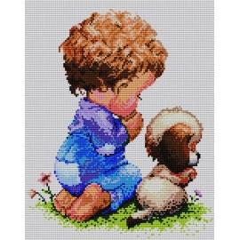 Haft krzyżykowy - do wyboru: kanwa z nadrukiem, nici Ariadna/DMC, wzór graficzny - Modlitwa chłopca (No 5161)