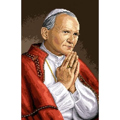 Haft krzyżykowy - do wyboru: kanwa z nadrukiem, nici Ariadna/DMC, wzór graficzny - Papież - Jan Pawel II (No 7070)