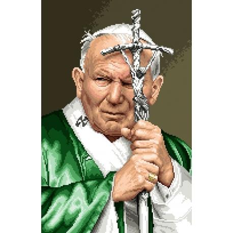 Haft krzyżykowy - do wyboru: kanwa z nadrukiem, nici Ariadna/DMC, wzór graficzny - Papież Jan Pawel II (No 7071) VI