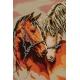Haft krzyżykowy - do wyboru: kanwa z nadrukiem, nici Ariadna/DMC, wzór graficzny - Zakochane konie (No 5168)