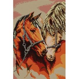 Haft krzyżykowy - do wyboru: kanwa z nadrukiem, nici Ariadna/DMC, wzór graficzny - Zakochane konie (No 5168) VI