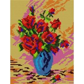 Haft krzyżykowy - do wyboru: kanwa z nadrukiem, nici Ariadna/DMC, wzór graficzny - Róże w wazonie (No 312)