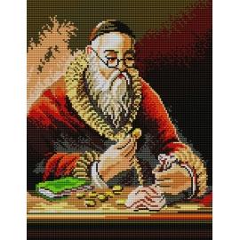 Haft krzyżykowy, kanwa z nadrukiem do haftu - Żyd liczący monety pieniądze (No 5145)