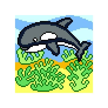 Haft krzyżykowy - do wyboru: kanwa z nadrukiem, nici Aridna/DMC, wzór graficzny Delfin (No 5592)