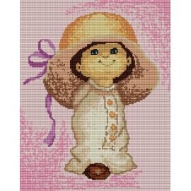 Haft krzyżykowy - do wyboru: kanwa z nadrukiem, nici Ariadna/DMC, wzór graficzny - Dziewczynka (No 5167)