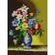 Do wyboru: kanwa z nadrukiem, nici Aridna/DMC, wzór graficzny - Kwiaty w niebieskim wazonie wg Josef Nigg (No 5179)