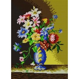 Haft krzyżykowy - zestaw do haftowania ściegiem krzyżykowym -Kwiaty w niebieskim wazonie wg Josef Nigg (No 5179)