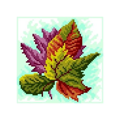Haft krzyżykowy - do wyboru: kanwa z nadrukiem, nici Ariadna/DMC, wzór graficzny - Jesienne liście (No 5575)