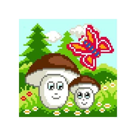 Kanwa z nadrukiem dla dzieci - Grzybki i motylek (No 5583)