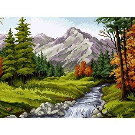 Haft krzyżykowy - wybór: kanwa z nadrukiem, nici Ariadna/DMC, wzór graficzny - Krajobraz górski Gwoździewicz (No 7079)