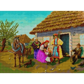 Haft krzyżykowy - do wyboru: kanwa z nadrukiem, nici Ariadna/DMC, wzór graficzny - Polska Wieś (No 7002)