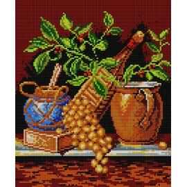 Haft krzyżykowy - do wyboru: kanwa z nadrukiem, nici Ariadna/DMC, wzór graficzny - Martwa natura - kiść winogron (No 332)