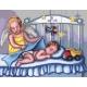 Haft krzyżykowy - do wyboru: kanwa z nadrukiem, nici Ariadna/DMC, wzór graficzny - Anioł stróż z chłopczykiem (No 7121)