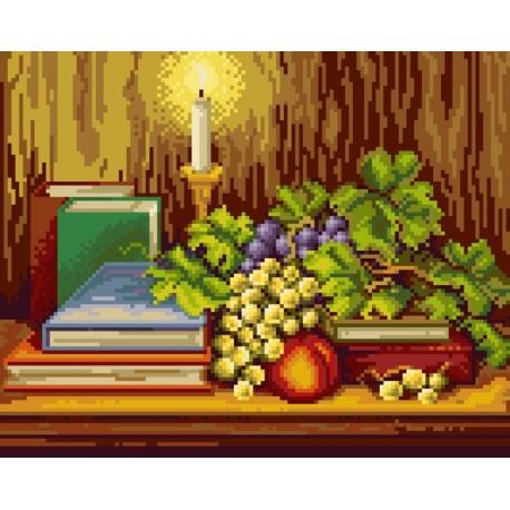 Haft krzyżykowy - do wyboru: kanwa z nadrukiem, nici Ariadna/DMC, wzór graficzny - Martwa natura ze świeczką (No 7069)