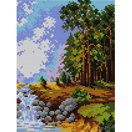 Haft krzyżykowy - do wyboru: kanwa z nadrukiem, nici Ariadna/DMC, wzór graficzny - Rzeka w lesie (No 5184)