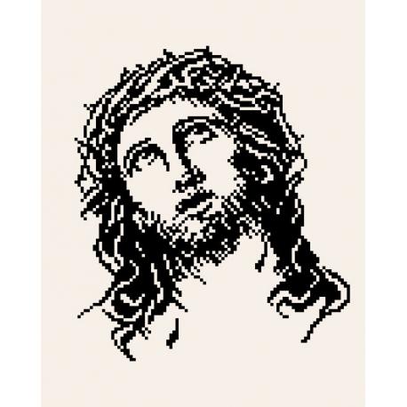 Haft krzyżykowy - do wyboru: kanwa z nadrukiem, nici Ariadna/DMC, wzór graficzny - Jezus (No 7097) VI