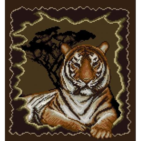 Haft krzyżykowy - do wyboru: kanwa z nadrukiem, nici Ariadna/DMC, wzór graficzny - Tygrys (No 7091)