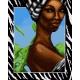 Haft krzyżykowy - do wyboru: kanwa z nadrukiem, nici Ariadna/DMC, wzór graficzny - Afrykanka (No 7092)
