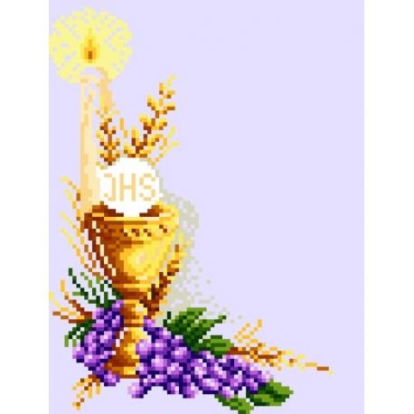 Haft krzyżykowy - do wyboru: kanwa z nadrukiem, nici Ariadna/DMC, wzór graficzny - Komunia Święta (No 5425)