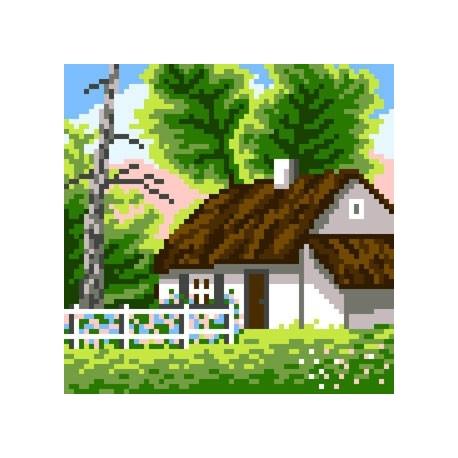Haft krzyżykowy - do wyboru: kanwa z nadrukiem, nici Ariadna/DMC, wzór graficzny - Chata (No 5631)