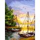 Haft krzyżykowy - do wyboru: kanwa z nadrukiem, nici Ariadna/DMC, wzór graficzny - Zatoka - łodzie (No 5452) VI