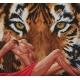 Haft krzyżykowy - do wyboru: kanwa z nadrukiem, nici Ariadna/DMC, wzór graficzny - Akt z tygrysem (No 9761)