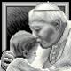 Haft krzyżykowy - do wyboru: kanwa z nadrukiem, nici Ariadna/DMC, wzór graficzny - Jan Paweł II z dzieckiem (No 5645)