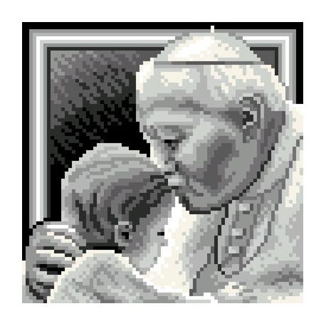 Obrazek do haftu krzyżykowego - kanwa z nadrukiem religijna - Jan Pawel 2 z dzieckiem (No 5645)