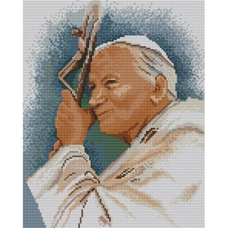 Haft krzyżykowy - do wyboru: kanwa z nadrukiem, nici Ariadna/DMC, wzór graficzny - Papież - Jan Paweł II (No 5203)
