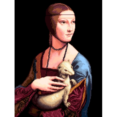 Haft krzyżykowy - wybór: kanwa z nadrukiem, nici Ariadna/DMC, wzór graficzny - Dama z łasiczką Leonardo da Vinci (No 7107) VI