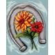 Haft krzyżykowy - do wyboru: kanwa z nadrukiem, nici Ariadna/DMC, wzór graficzny - Podkowa na szczęście(No 7117)
