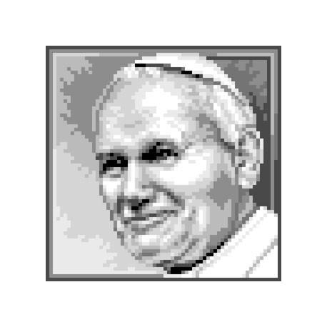 Haft krzyżykowy - do wyboru: kanwa z nadrukiem, nici Ariadna/DMC, wzór graficzny - Papież - Jan Paweł II (No 5642)