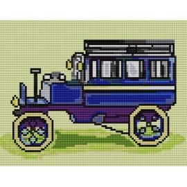 Obrazek do haftowania dla dzieci - Niebieski samochod (No 5065)
