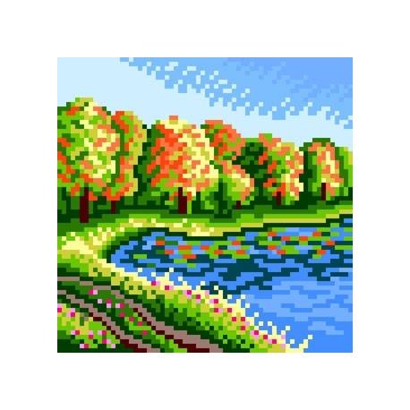 Kanwa do haftu krzyżykowego dla dzieci - Nad jeziorem (No 5648)