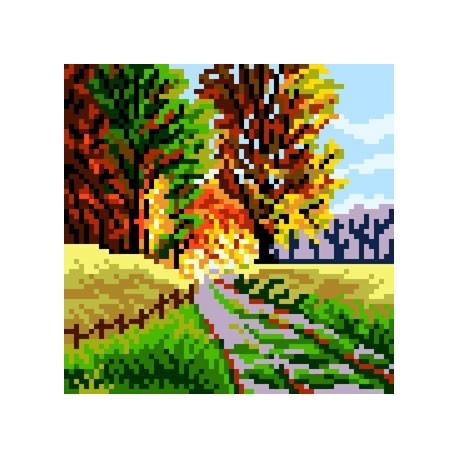Haft krzyżykowy - do wyboru: kanwa z nadrukiem, nici Ariadna/DMC, wzór graficzny - Leśna droga (No 5649)