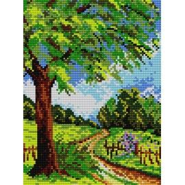 Haft krzyżykowy - do wyboru: kanwa z nadrukiem, nici Ariadna/DMC, wzór graficzny - Krajobraz z drzewem (No 5180)