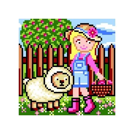 Haft krzyżykowy - do wyboru: kanwa z nadrukiem, nici Ariadna/DMC, wzór graficzny - Dziewczynka z owieczką (No 5655)