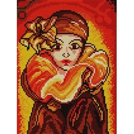 Haft krzyżykowy - do wyboru: kanwa z nadrukiem, nici Ariadna/DMC, wzór graficzny - Kobieta (No 5207)