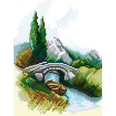 Haft krzyżykowy - do wyboru: kanwa z nadrukiem, nici Ariadna/DMC, wzór graficzny - Most (No 5434)