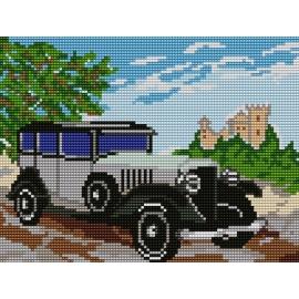 Haft krzyżykowy - do wyboru: kanwa z nadrukiem, nici Ariadna/DMC, wzór graficzny - Samochód (No 5066)