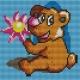 Kanwa do haftu dla dzieci - Miś z kwiatkiem (No 5219)