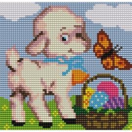 Haft krzyżykowy - do wyboru: kanwa z nadrukiem, nici Ariadna/DMC, wzór graficzny -  Owieczka z koszykiem z jajkami (No 5169)