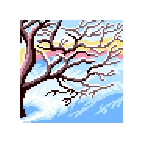 Haft krzyżykowy - do wyboru: kanwa z nadrukiem, nici Ariadna/DMC, wzór graficzny - Drzewo - Zima (No 5616)