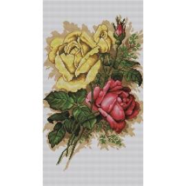 Haft krzyżykowy - do wyboru: kanwa z nadrukiem, nici Ariadna/DMC, wzór graficzny - Róże (No 7015)