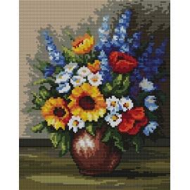 Haft krzyżykowy - do wyboru: kanwa z nadrukiem, nici Ariadna/DMC, wzór graficzny - Polne kwiaty wg B. Sikora (No 94519) VI