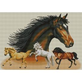 Haft krzyżykowy - do wyboru: kanwa z nadrukiem, nici Ariadna/DMC, wzór graficzny - Portret Dzikich Koni (No 7021)