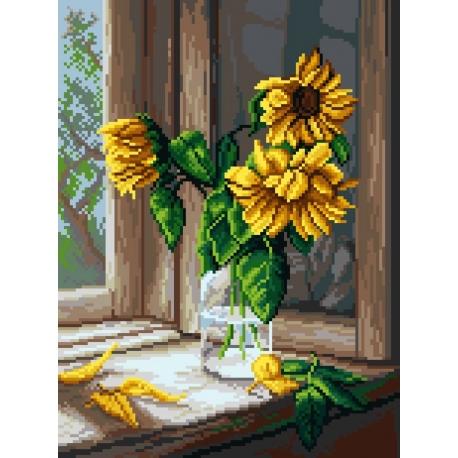 Haft krzyżykowy - do wyboru: kanwa z nadrukiem, nici Ariadna/DMC, wzór graficzny - Słoneczniki w oknie (No 7129)