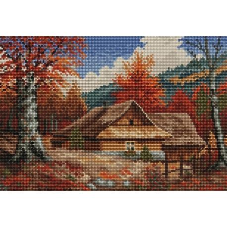Haft krzyżykowy - do wyboru: kanwa z nadrukiem, nici Ariadna/DMC, wzór graficzny - Chaty jesienią wg S. Sikora (No 94015)